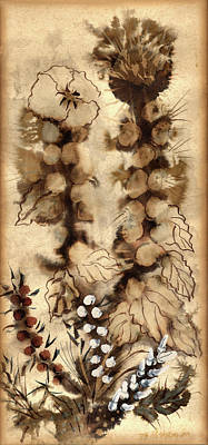Painting - Kotsim Thorny Desert Plants In Brown Flowers Leaves Monochrome White   by Rachel Hershkovitz