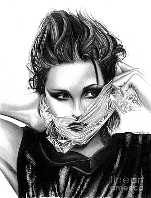 Eclipse Drawing - Kristen Stewart 2 by Crystal Rosene