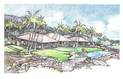 Art Print featuring the drawing Kukio Home by Andrew Drozdowicz