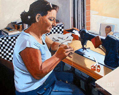Sewing Machine Painting - Kydrete The Seamstress by Deb Putnam