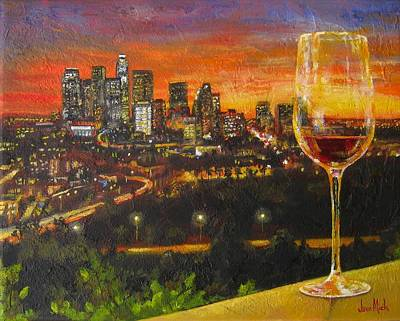 Glass Of Wine Painting - L. A. Lights by Jane Mick