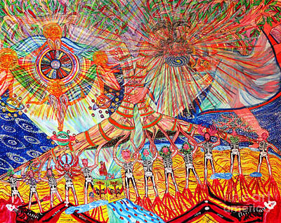 Ezekiel Painting - L-ezekiel's Brain Flotations And Rotations In The River Of Time by Nahum HaLevi