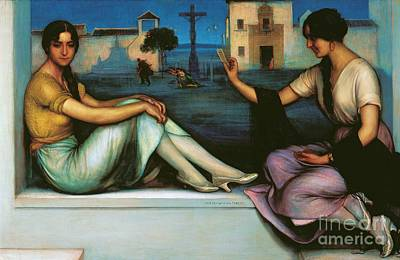 Two Ladies Painting - La Buenaventura by Pg Reproductions