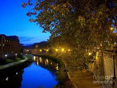 la notte sul Tevere dal Ponte Fabricio Art Print