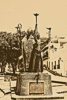 La Rogativa Sculpture Old San Juan Puerto Rico Rustic Art Print by Shawn O'Brien