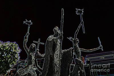 Rogativa Digital Art - La Rogativa Statue Old San Juan Puerto Rico Glowing Edges by Shawn O'Brien