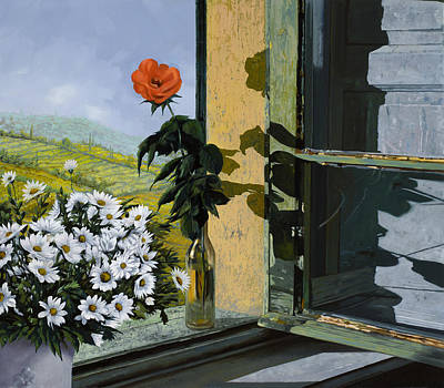 Windows Painting - La Rosa Alla Finestra by Guido Borelli