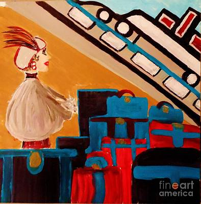 La Shai Waits For The Queen Mary II Art Print by Marie Bulger