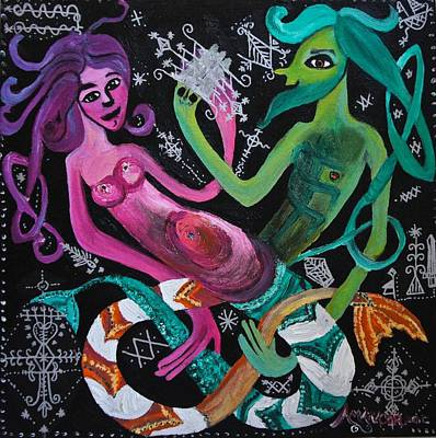 Vodou Painting - Les Sirenes Amoureux by Amanacer Originals