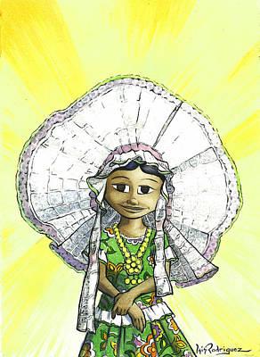 Pintura Mexicana Painting - La Tehuanita by Isis Rodriguez