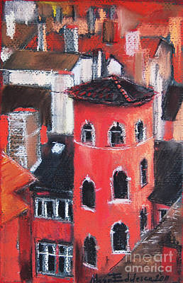 Rooftops Pastel - La Tour Rose In Lyon 1 by Mona Edulesco