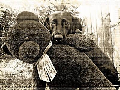 Labrador And Holiday Teddy Art Print