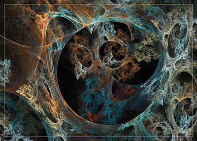 Digital Art - Labyrinth Of Golden Blue by Sipo Liimatainen