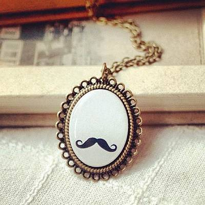 Jewelry Wall Art - Photograph - #lace #mustache #book #necklace by Sophie D