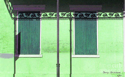 Lace Shadows And Plank Shutters Art Print by Jerry Grissom