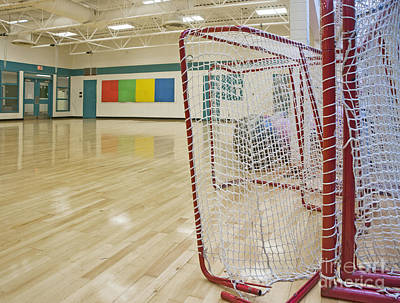 Lacrosse Goals In A Gymnasium Art Print by Marlene Ford