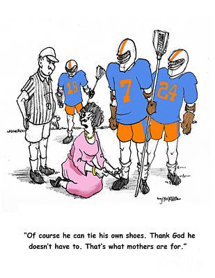 Lacrosse Mom Ties Shoes Art Print by John Crowther