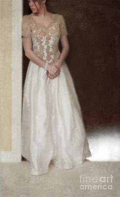 Lacy In Ecru Lace Gown Art Print by Jill Battaglia