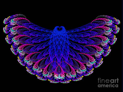 Lacy Jewel Tone Fractal Flying Owl Art Print by Andee Design
