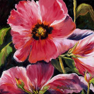Painting - Ladies In Pink Hollyhocks by Pati Pelz