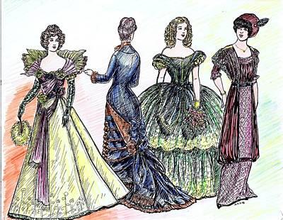 Bustle Drawing - Ladies Of Fashion 2 by Mel Thompson