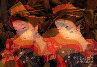 Mixed Media - Ladies With Ginkgo Leaves by Patricia Januszkiewicz
