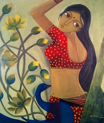 Indian Fine Art Painting - Lady 2 by Shikha Agnihotri