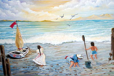 Lady Bay Children On The Beach Art Print by Janna Columbus