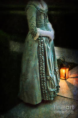Lady By Lantern Light Print by Jill Battaglia