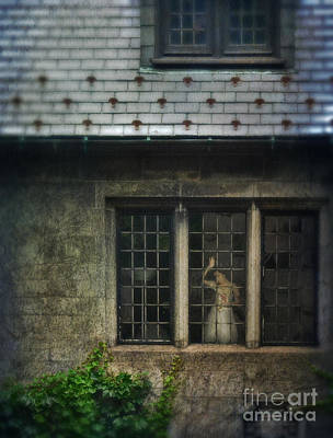 Lady By Window Of Tudor Mansion Art Print by Jill Battaglia