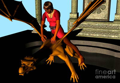 Digital Art - Lady Flies A Dragon by Stanley Morganstein