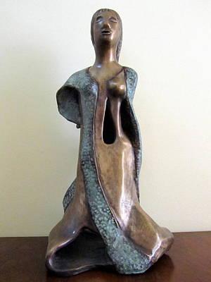 Sculpture - Lady Godiva In A Gown Green Bronze Sculpture  by Rachel Hershkovitz