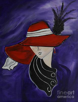 Red Hat Society Painting - Lady In A Red Hat by Leslie Allen