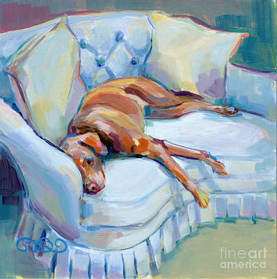 Chocolate Lab Painting - Lady In Blue by Kimberly Santini
