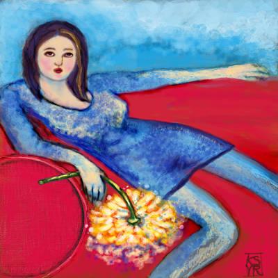 Lady In Blue Art Print by Kimberly Van Rossum
