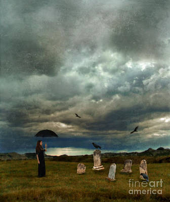 Lady In Graveyard Art Print by Jill Battaglia