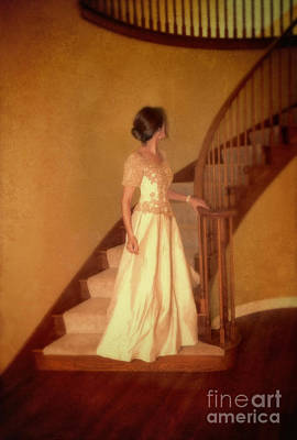 Lady In Lace Gown On Staircase Art Print by Jill Battaglia