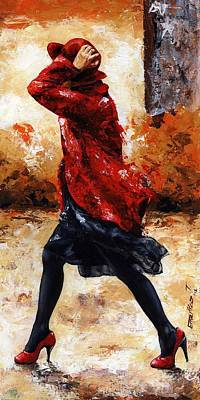 Female Mixed Media - Lady In Red 28 by Emerico Imre Toth