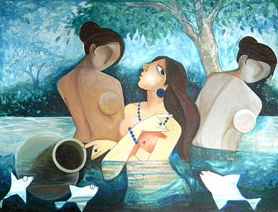 Indian Contemporary Artist Painting - Lady In The Pond by Shikha Agnihotri