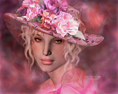 Mixed Media - Lady In The Rose Hat by Carol Cavalaris