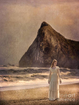 Lady In Vintage Gown Walking On The Beach Art Print