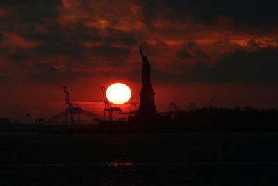 Lady Liberty Sunset Art Print by Matthew Breslow
