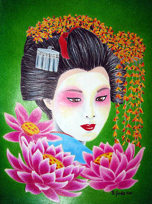 Drawing - Lady Lotus by Betsy Jones