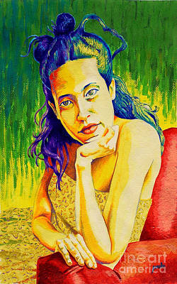 Lady N Colour Art Print by Jose Miguel Barrionuevo