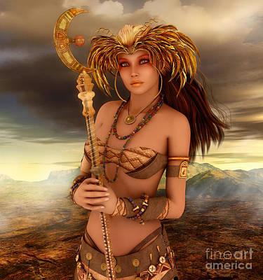 Staves Digital Art - Lady Of Fantasy by Jutta Maria Pusl