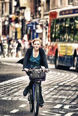 Ladies Bike Photograph - Lady On Bike by James Yang