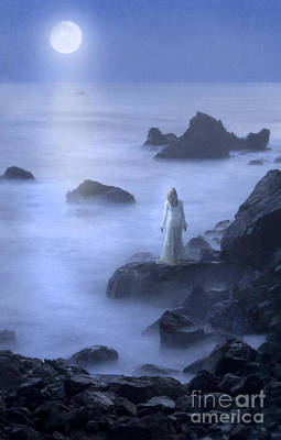 Moonlit Night Photograph - Lady On Rocky Seashore In The Moonlight by Jill Battaglia