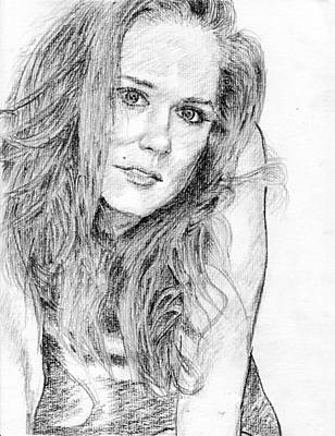 Lady Pencil Portrait Art Print by Rom Galicia