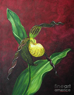 Art Print featuring the painting Lady Slipper by Dwayne Glapion