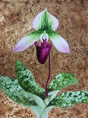 Lady Slipper Orchid With Gold Leaf Background Print by Kerri Ligatich